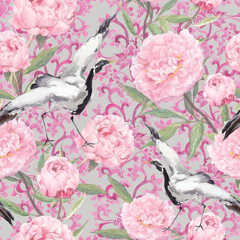 Uccelli della gru, fiori della peonia Modello ornamentale di ripetizione floreale watercolor illustrazione vettoriale