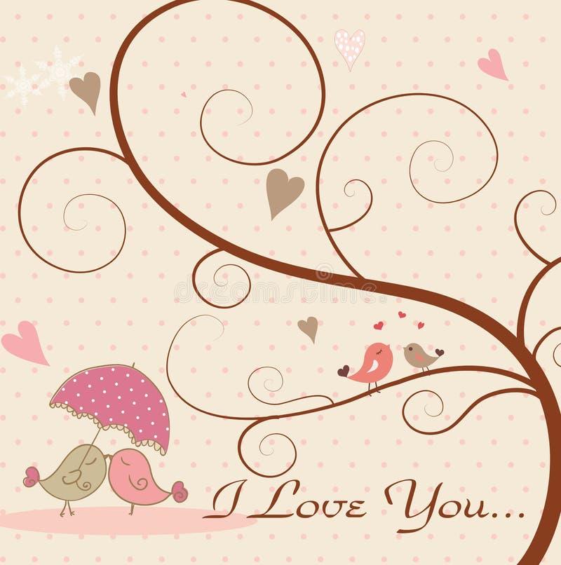 Uccelli di amore e un albero immagine stock