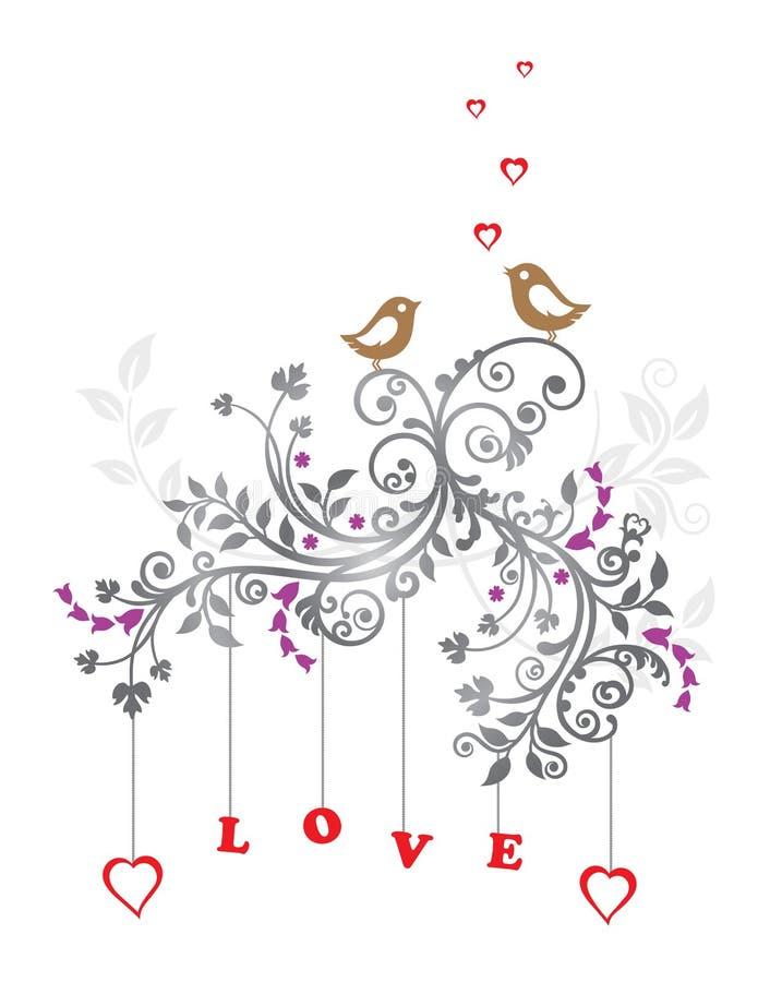 Uccelli di amore e un bello ornamento floreale illustrazione vettoriale