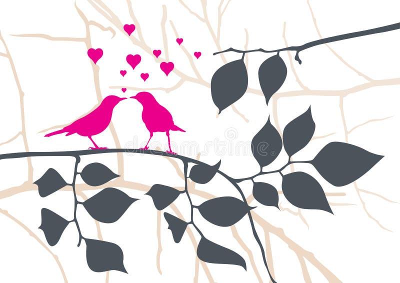 Uccelli di amore su un albero - vettore royalty illustrazione gratis