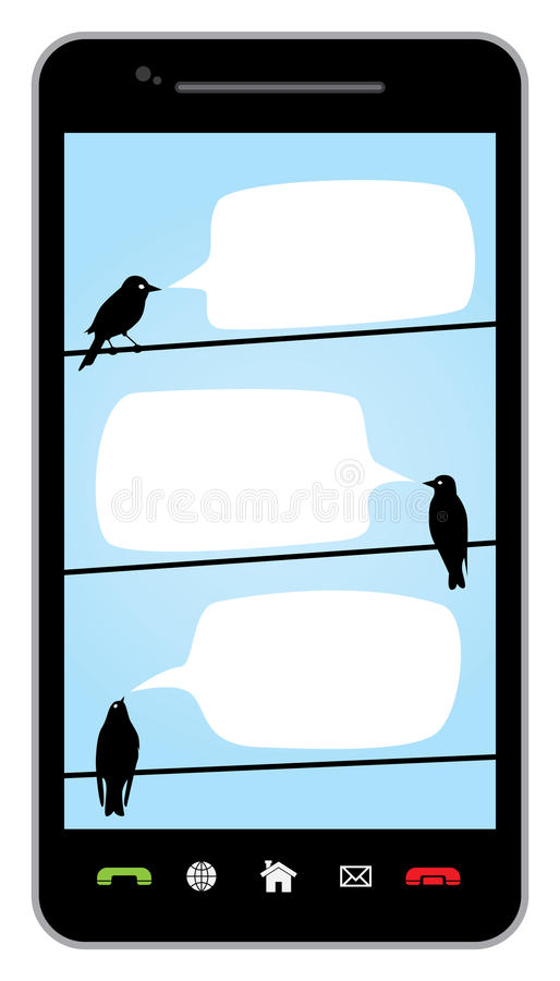 Uccelli di chiacchierata sui collegare illustrazione di stock