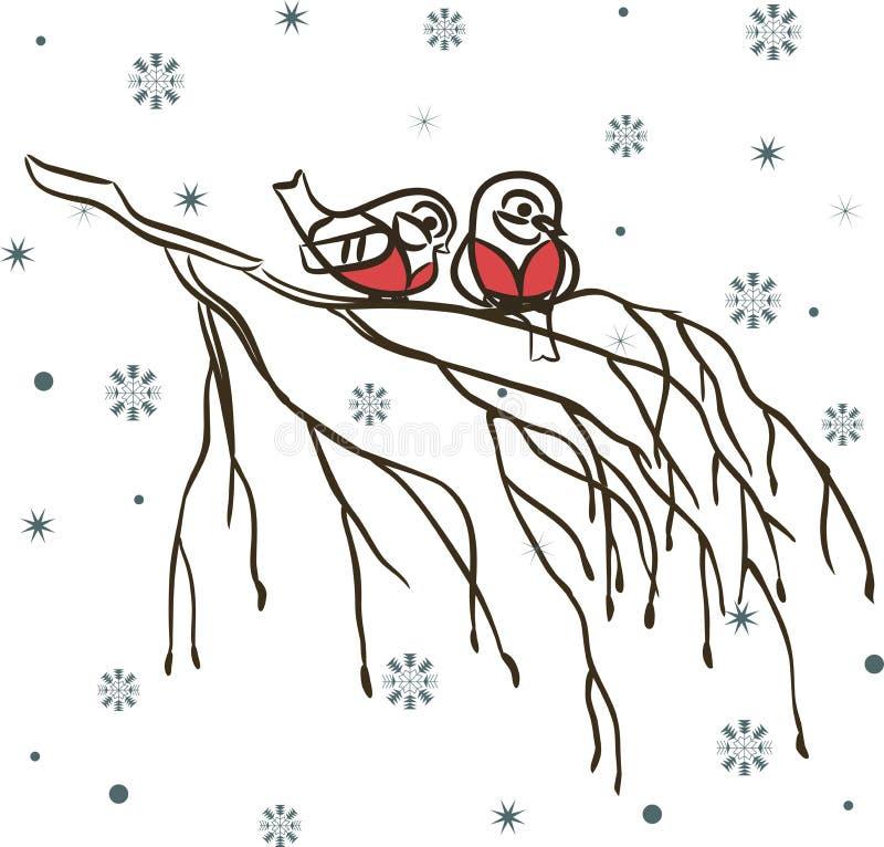 Uccelli di inverno sulla filiale e sui fiocchi di neve illustrazione vettoriale