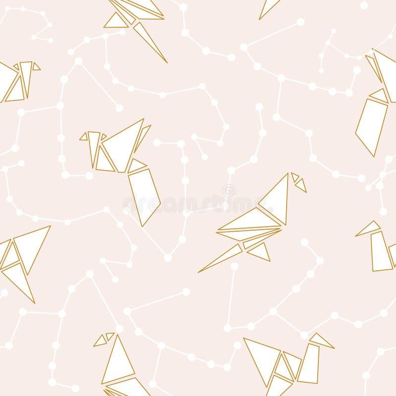 Uccelli di origami ed elementi dorati geometrici in una progettazione senza cuciture del modello illustrazione di stock