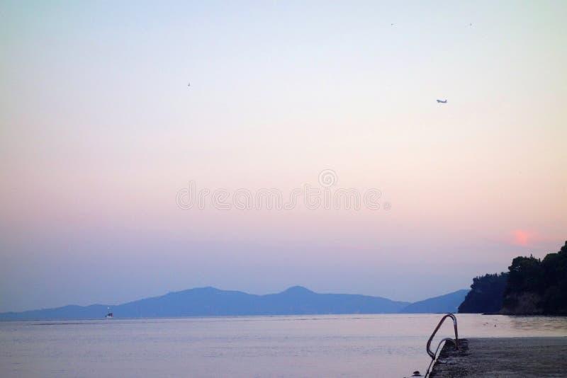 Uccelli di tramonto della piattaforma del mare immagine stock