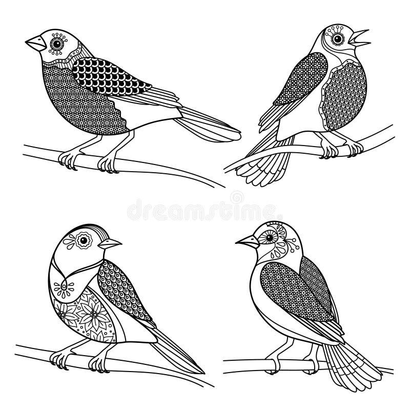 Uccelli disegnati a mano dello zentangle illustrazione vettoriale