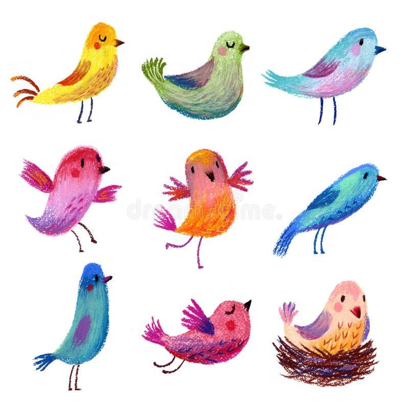 Uccelli divertenti svegli messi degli uccelli dipinti matita pastello illustrazione vettoriale