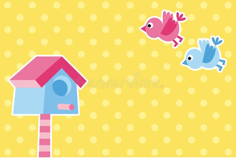 Uccelli e birdhouse illustrazione vettoriale