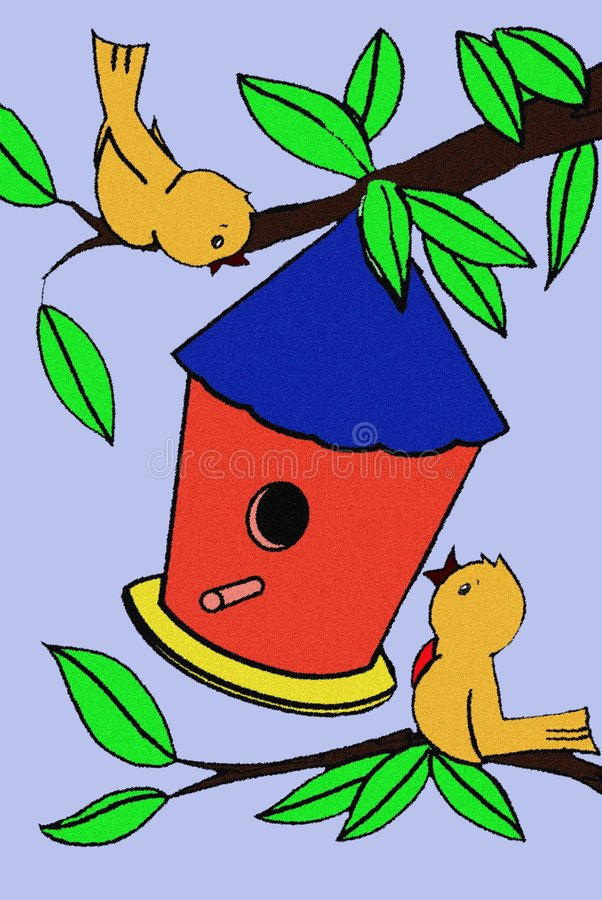 Uccelli e Birdhouse in un albero illustrazione vettoriale