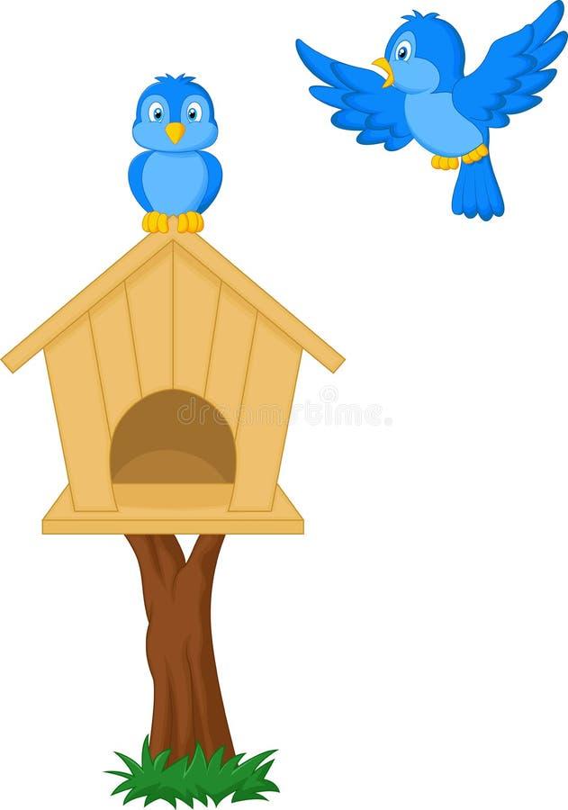 Uccelli e case dell'uccello illustrazione di stock