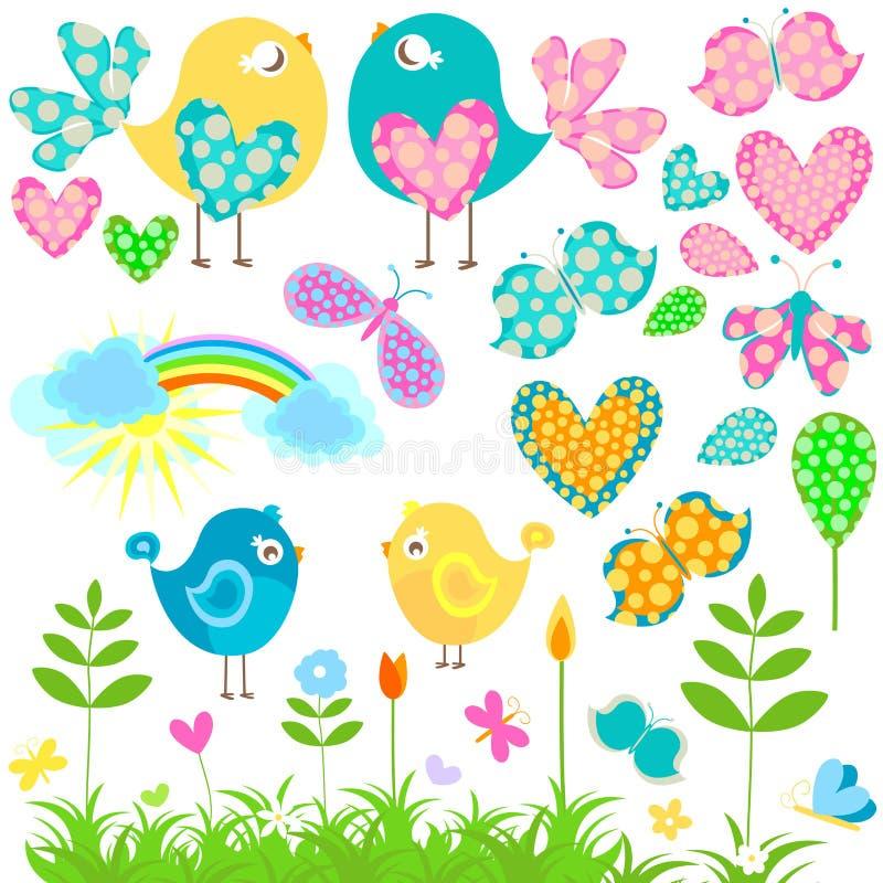 Uccelli e farfalle illustrazione vettoriale