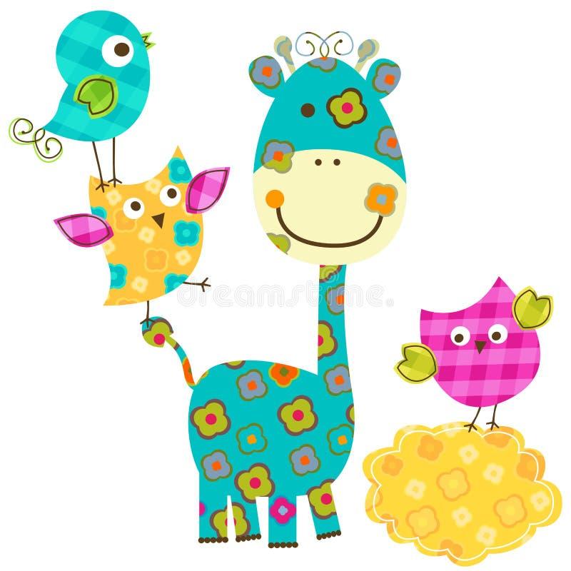Uccelli e giraffa felici illustrazione vettoriale