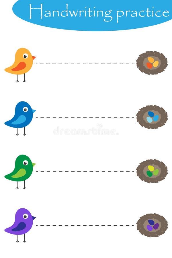 Uccelli e nestis, strato di pratica della scrittura della molla, attività prescolare dei bambini, gioco educativo dei bambini, fo royalty illustrazione gratis