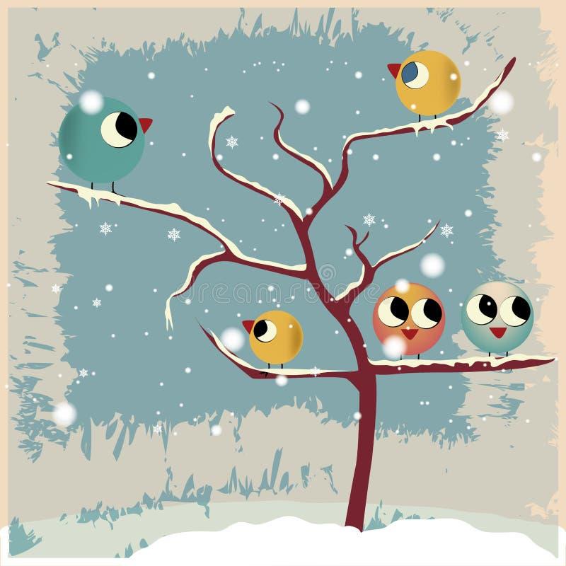 Uccelli e un albero nudo illustrazione vettoriale