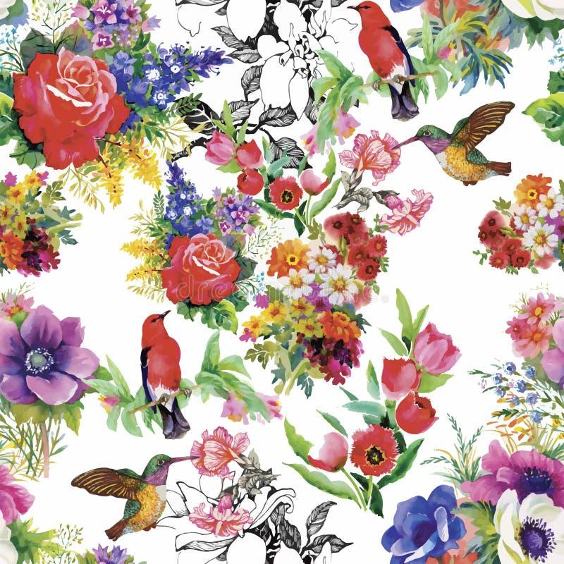 Uccelli esotici selvaggi dell'acquerello sul modello senza cuciture dei fiori su fondo bianco illustrazione vettoriale