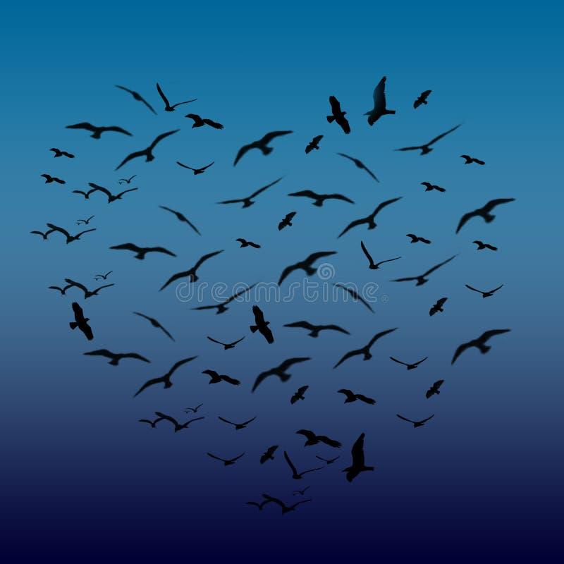 Uccelli a forma di del cuore fotografia stock