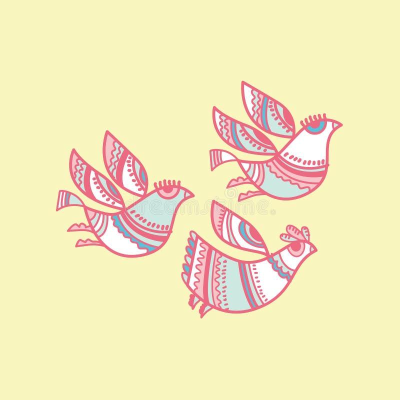 Uccelli pieghi di stile royalty illustrazione gratis