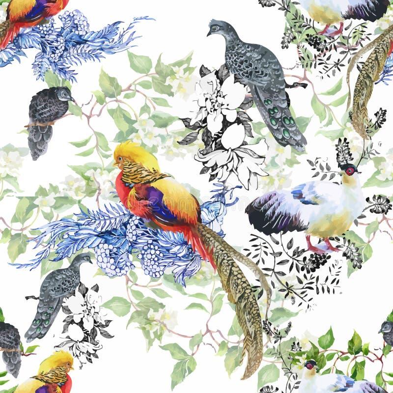 Uccelli selvaggi degli animali del fagiano nel modello senza cuciture floreale dell'acquerello royalty illustrazione gratis