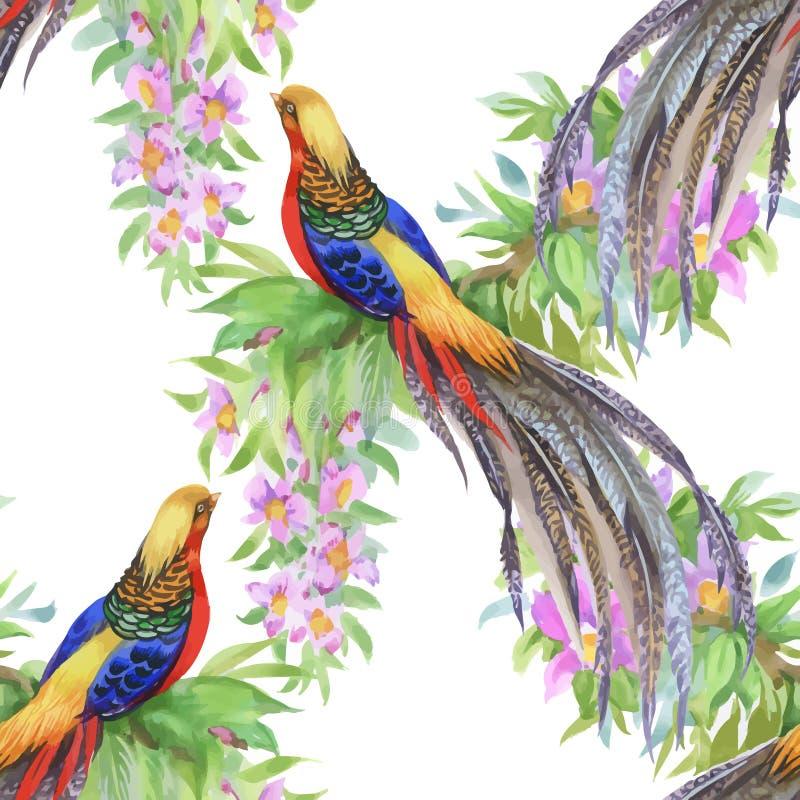 Uccelli selvaggi degli animali del fagiano nel modello senza cuciture floreale dell'acquerello illustrazione vettoriale