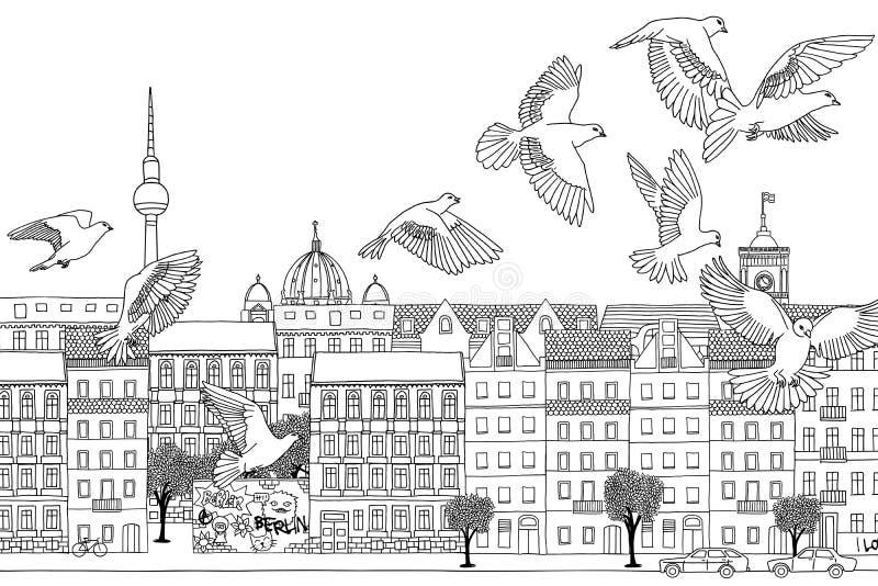 Uccelli sopra Berlino illustrazione di stock