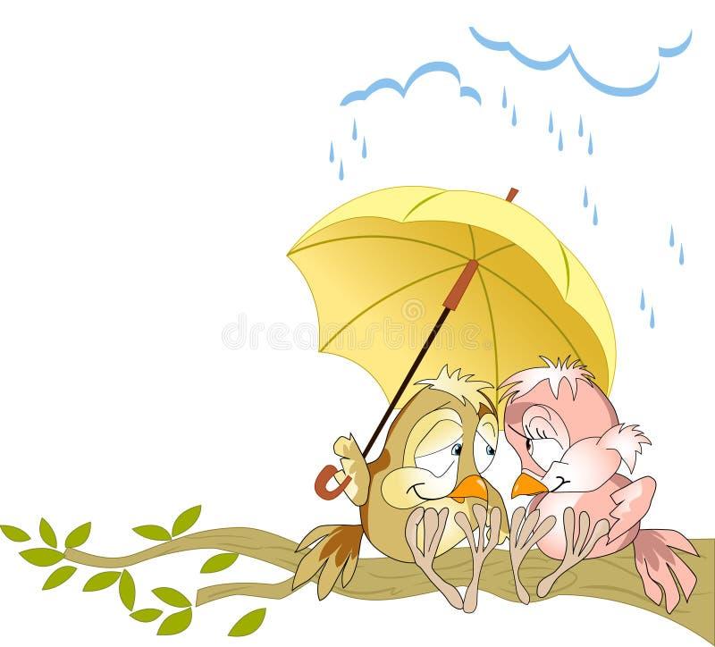 Uccelli sotto l'ombrello illustrazione vettoriale