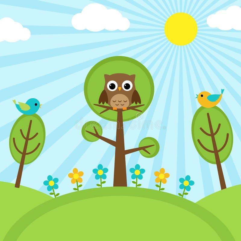 Uccelli sugli alberi royalty illustrazione gratis