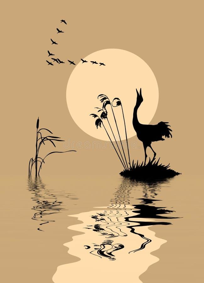 Uccelli sul lago illustrazione di stock