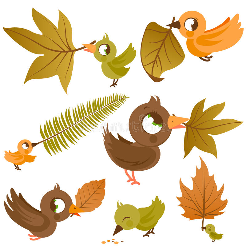 Uccelli svegli che tengono le foglie di autunno asciutte illustrazione vettoriale
