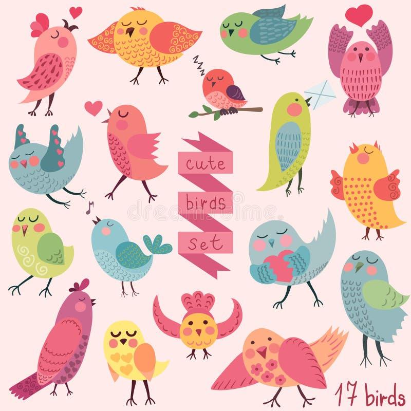 Uccelli svegli del fumetto messi royalty illustrazione gratis