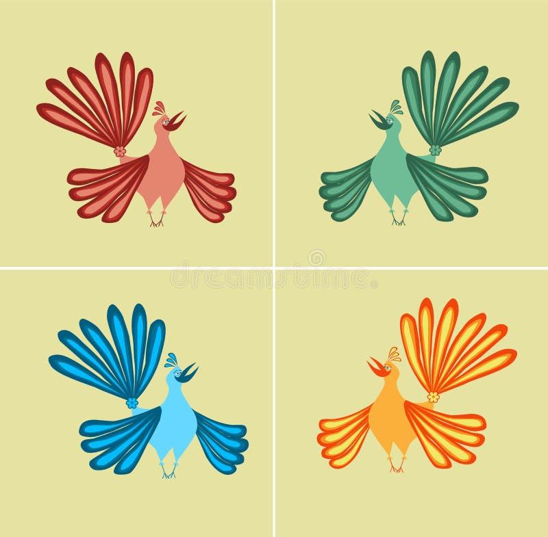 Uccelli variopinti royalty illustrazione gratis