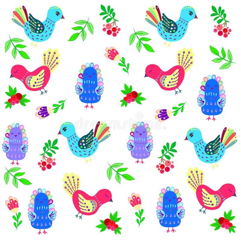 Uccellini e fiori e bacche royalty illustrazione gratis