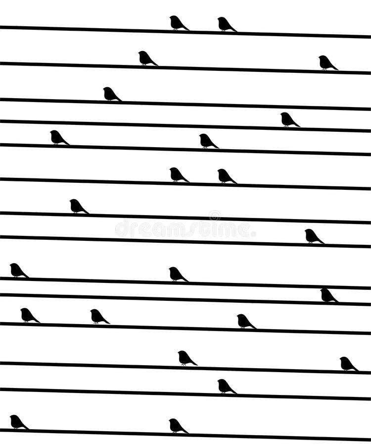 Uccellini su un collegare. royalty illustrazione gratis