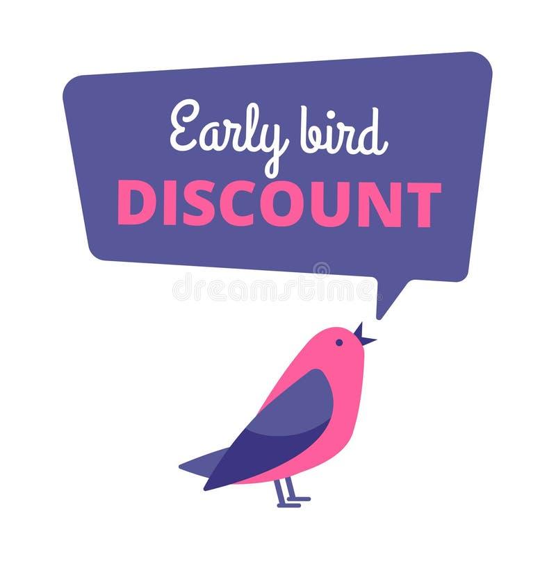 Uccello in anticipo Offerta speciale di sconto, insegna di vendita Concetto iniziale di vettore degli uccelli illustrazione di stock