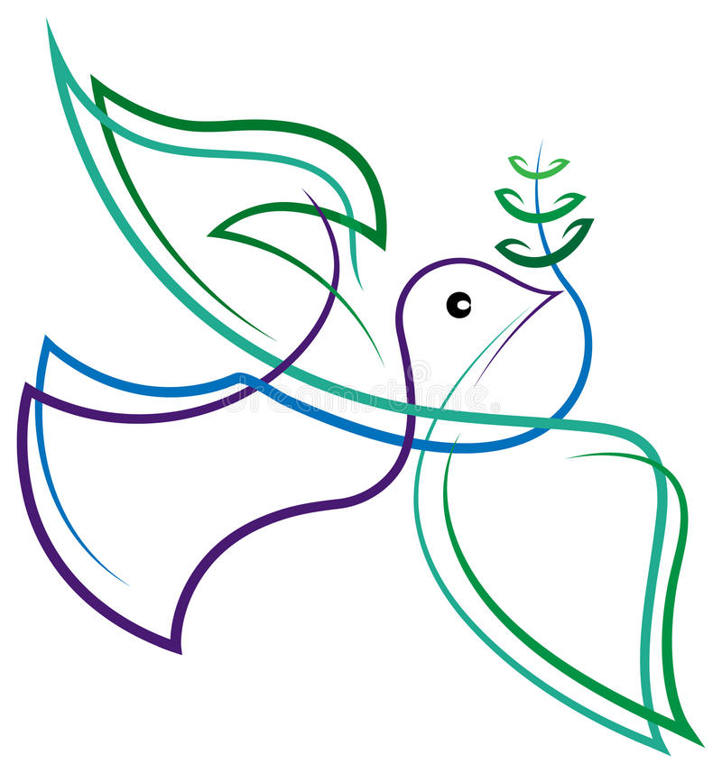 Uccello astratto di pace illustrazione di stock