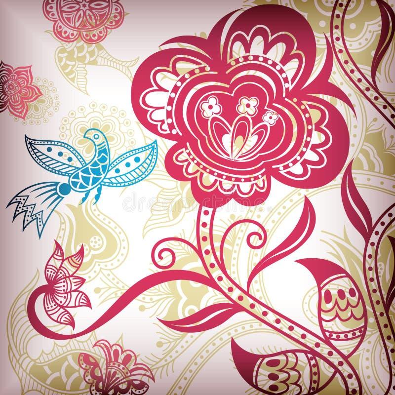 Uccello astratto floreale royalty illustrazione gratis