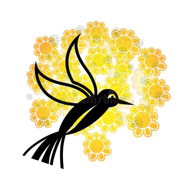 Uccello bello sopra i fiori del fiore illustrazione di stock