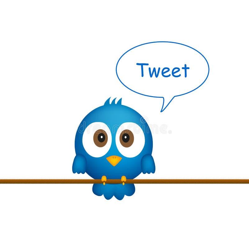Uccello blu che si siede sulla corda, cantante illustrazione di stock