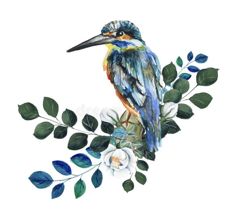 Uccello blu comune del martin pescatore dell'acquerello fotografia stock