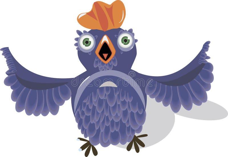 Uccello blu molto sciocco illustrazione vettoriale