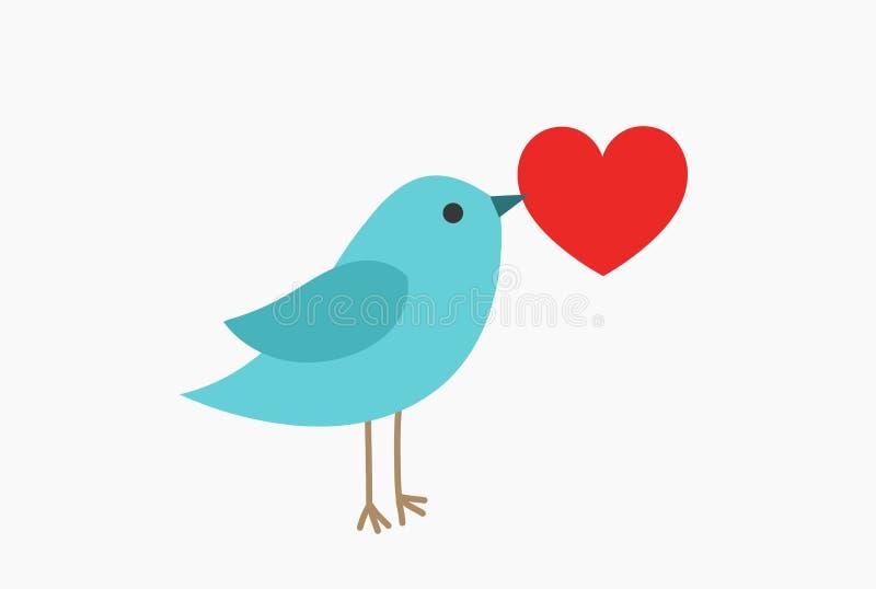 Uccello blu sveglio con cuore rosso illustrazione di stock