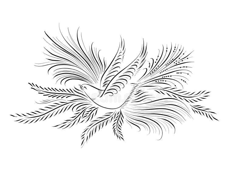Uccello calligrafico fiorito per nozze o il battista - battesimo illustrazione vettoriale