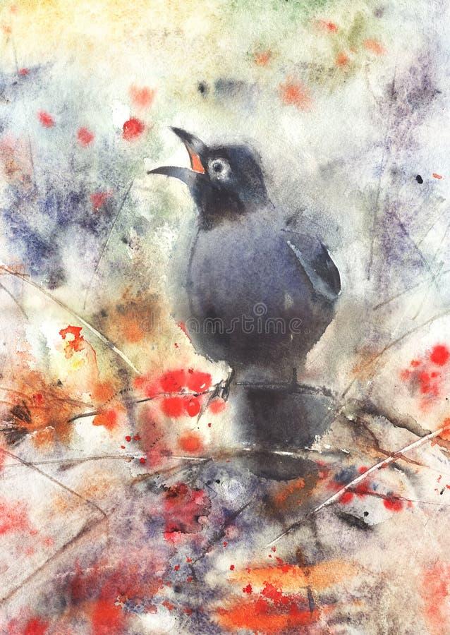 Uccello che si siede su un albero di cenere della montagna illustrazione di stock