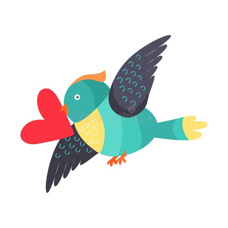 Uccello con cuore nel volo del becco isolato su bianco royalty illustrazione gratis