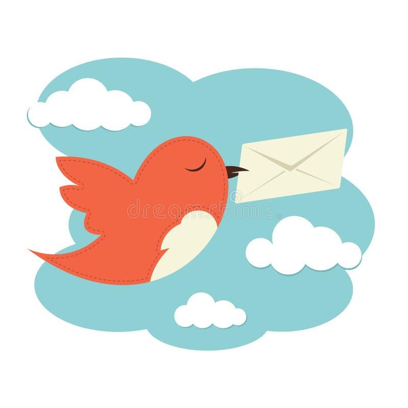Uccello con la busta illustrazione di stock
