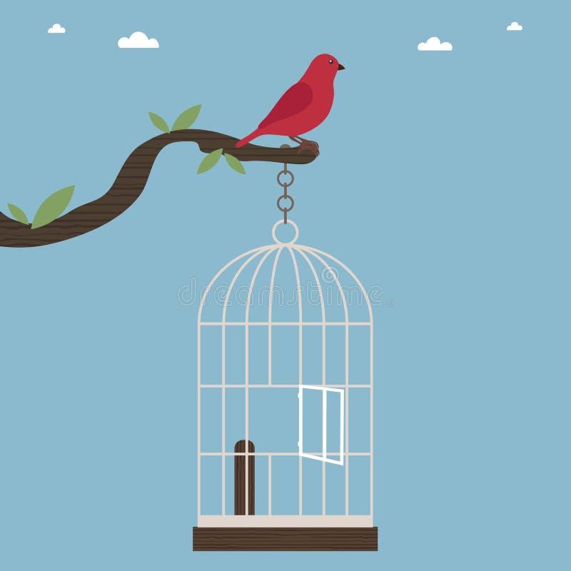 Uccello dalla gabbia illustrazione vettoriale