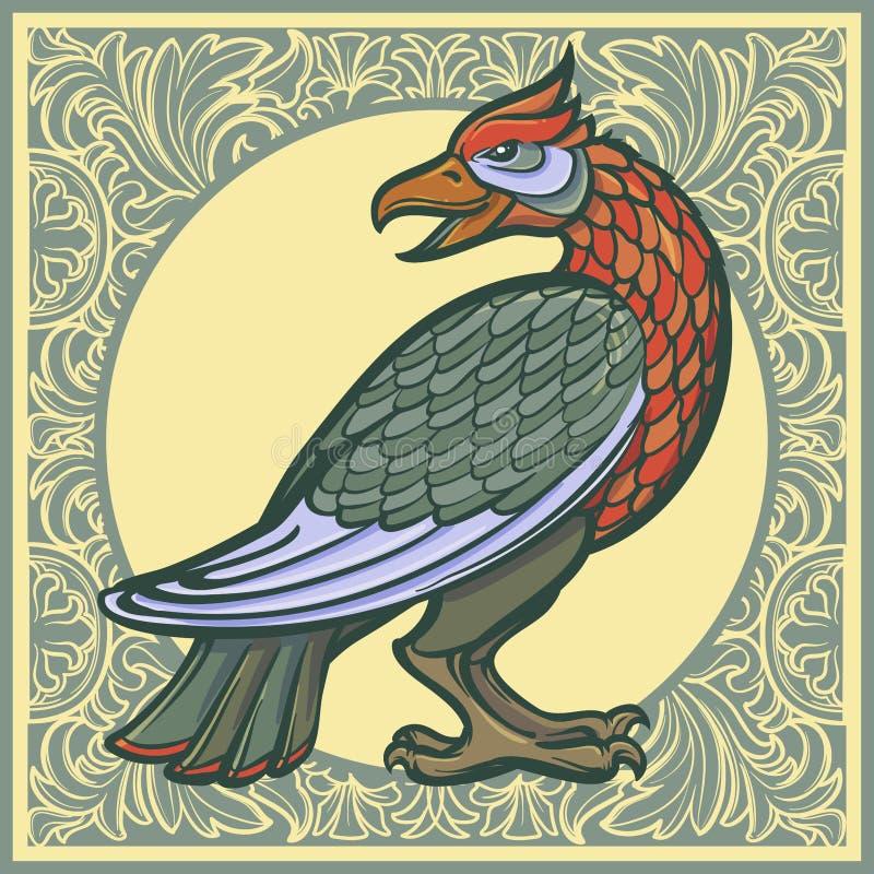 Uccello decorativo Arte gotica medievale di concetto di stile Priorità bassa floreale decorativa royalty illustrazione gratis