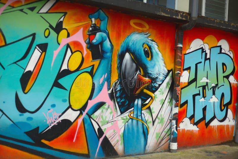 Uccello dei graffiti fotografia stock libera da diritti