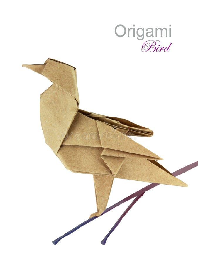 Uccello del cinguettio di origami del documento di Brown fotografie stock libere da diritti