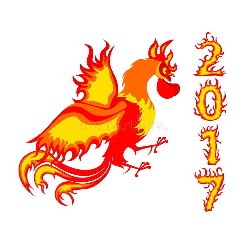 Uccello del gallo Nuovo pollo cinese di anno 2017 lunare fotografia stock