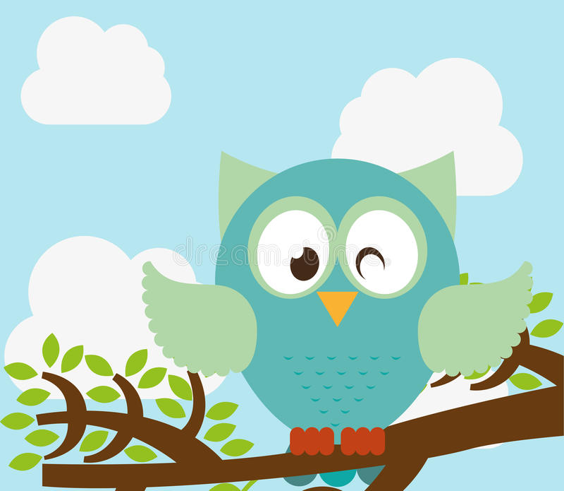 Uccello del gufo illustrazione di stock