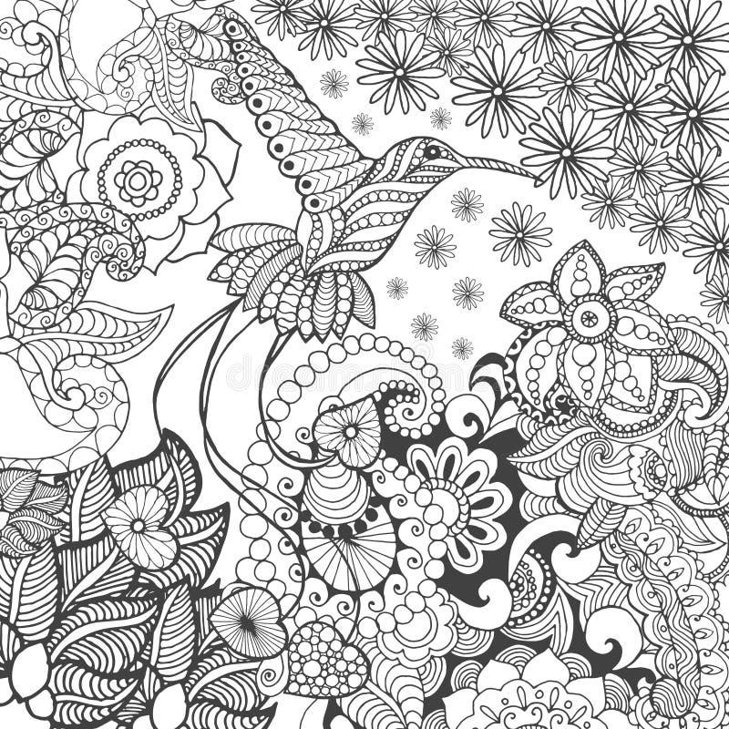 Uccello del paradiso nel giardino di fantasia illustrazione di stock